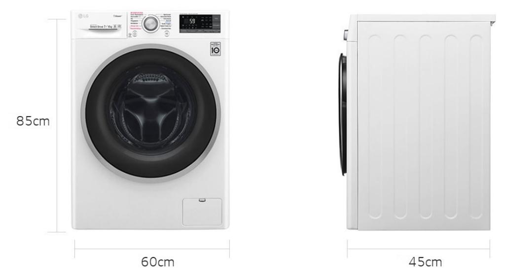 LG F12WD74SLIM 7 kg/4 kg Waschtrockner, Steam Funktion, Slim 45cm