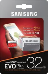 Samsung EVO+ 32GB microSDHC Card 2017 + Adapter 95