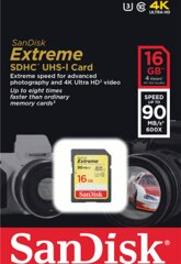 Sandisk Extreme SDHC Card 16GB 90MB/s Class 10 UHS
